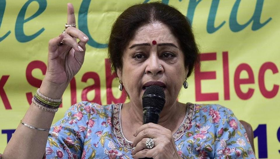 BJP candidate from Chandigarh Kirron Kher  during an interaction residents welfare association members  at the Chandigarh Press Club.