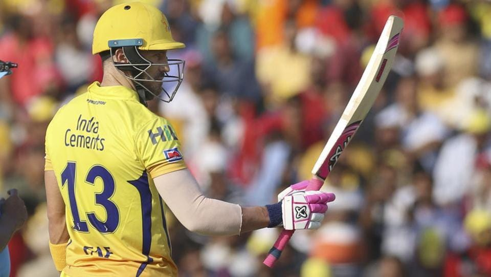 Faf du Plessis of Chennai Super Kings celebrates fifty runs. (AP)