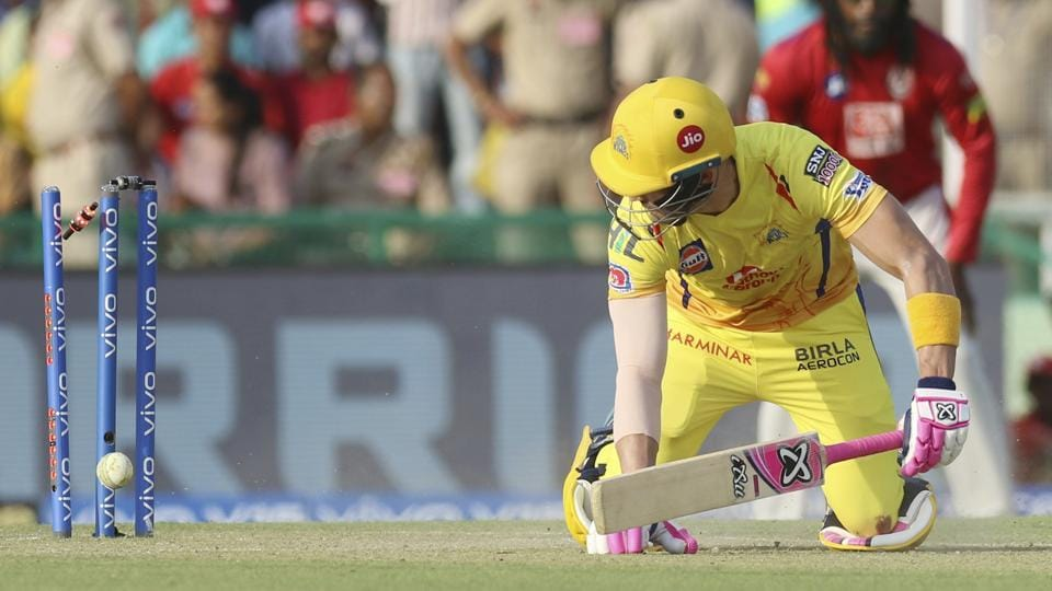 Faf du Plessis of Chennai Super Kings is bowled at 96. (AP)
