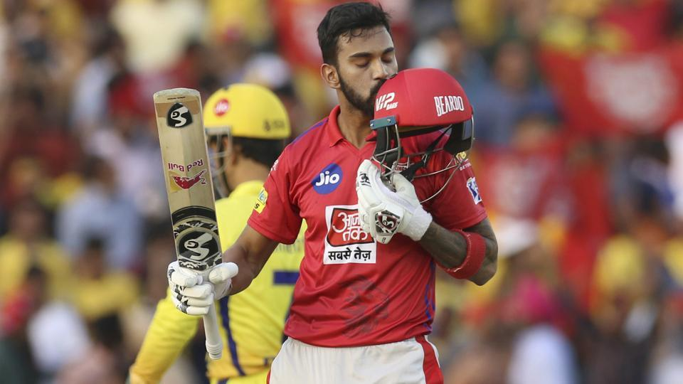 KL Rahul of Kings XI Punjab, kisses his helmet as he celebrates fifty runs. (AP)