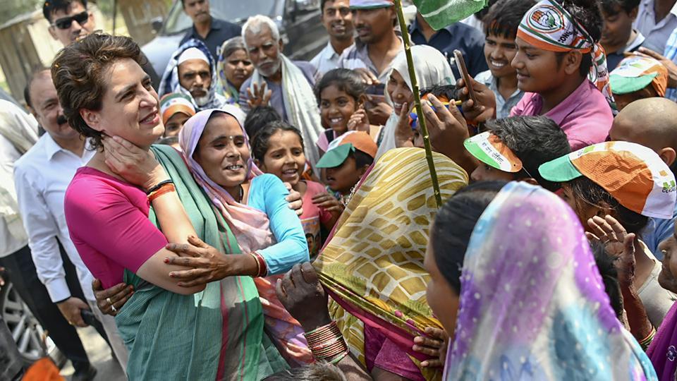 Congress general secretary Priyanka Gandhi Vadra during an election rally in Rae Bareli district of Uttar Pradesh.