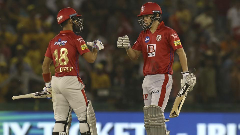 Mandeep Singh, left and Sam Curran of Kings XI Punjab celebrate after winning the encounter. (AP)
