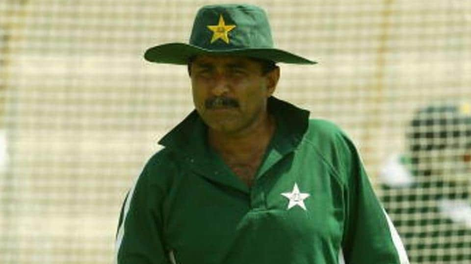 Pakistan coach Javed Miandad looks on during his teams training session before the first test match between Pakistan and India on March 27, 2004 in Multan, Pakistan.