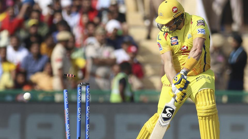 Shane Watson of Chennai Super Kings is bowled during the IPL 2019. (AP)