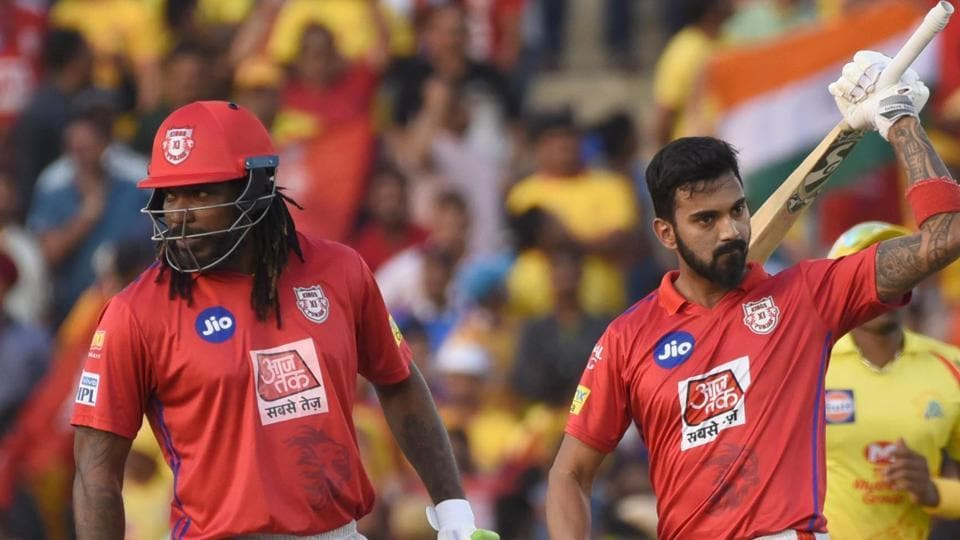 KL Rahul of Kings XI Punjab celebrates his half century against Chennai Super Kings. (HT Photo)