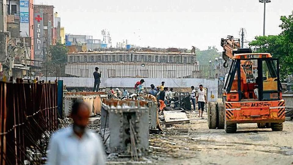 Construction of an underpass and flyover underway at Sultanpuri.