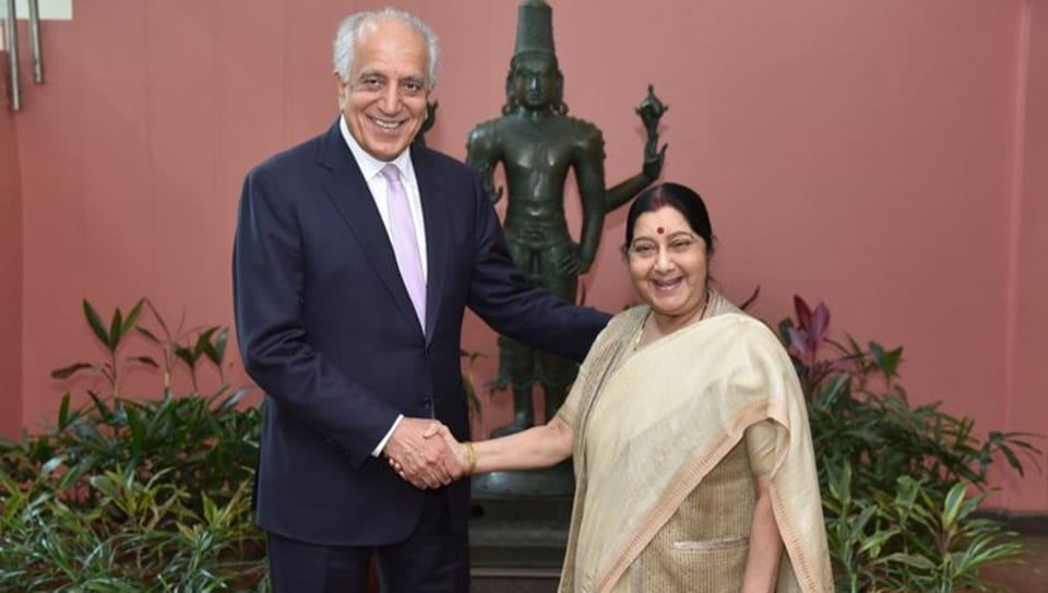 US special envoy for Afghanistan reconciliation, Zalmay Khalilzad with External Affairs Minister Sushma Swaraj  in Delhi on Monday.
