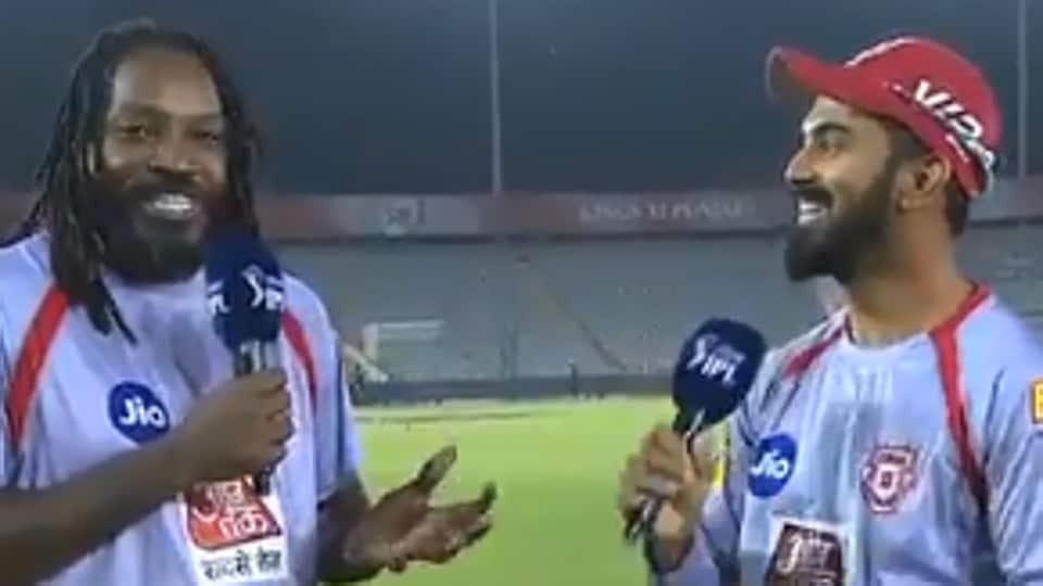 Chris Gayle speaks to KL Rahul after Kings XI Punjab's last league match.
