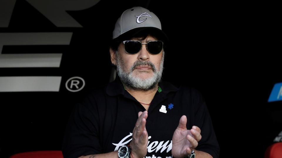 Dorados coach Diego Armando Maradona before the match
