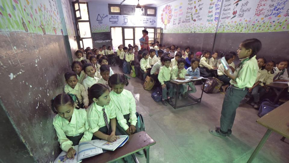 A 50-year-old Marathi school in Goregaon is on the verge of closing down after the school building was declared unsafe by the Brihanmumbai Municipal Corporation (BMC). (Photo by Gurpreet Singh/Hindustan Times) Representative Image