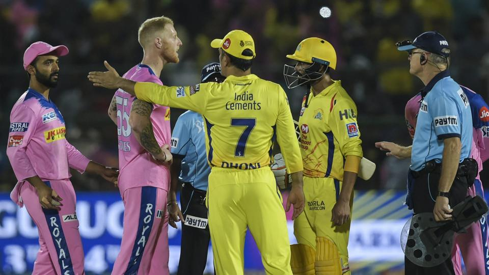 CSK captain M S Dhoni talks to the umpires during the Indian Premier League 2019 (IPL T20) cricket match between Chennai Super Kings (CSK) and Rajasthan Royals (RR) at Sawai Mansingh Stadium, Jaipur, Thursday, April 11, 2019.