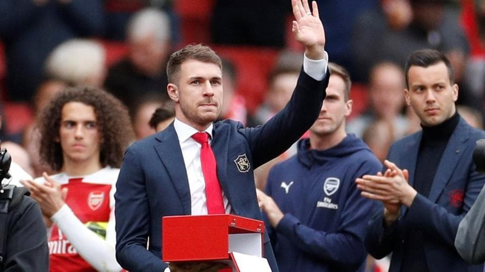 Arsenal's Aaron Ramsey during a presentation after the match