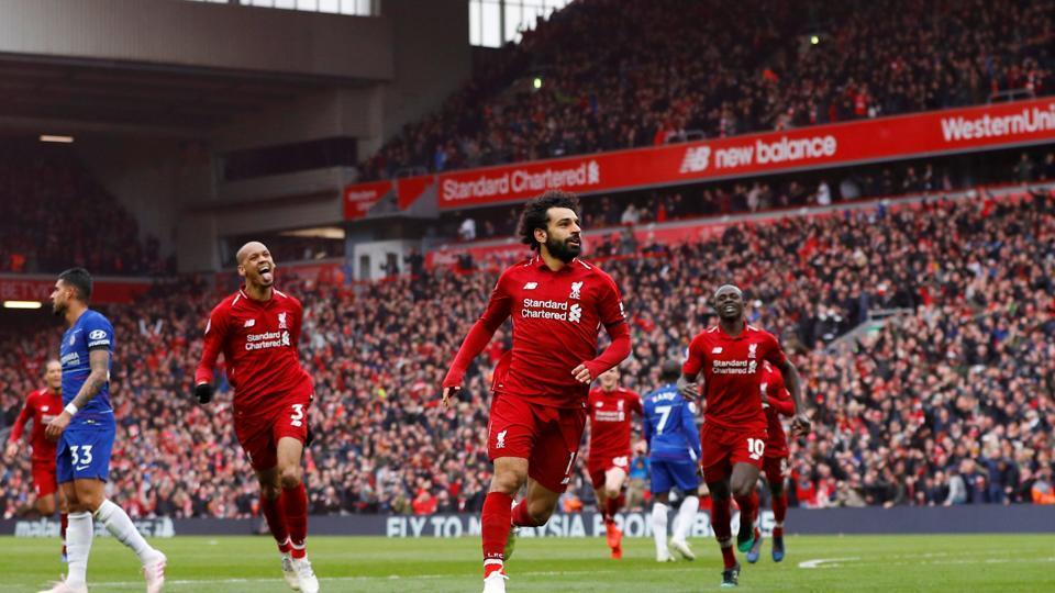 Liverpool's Mohamed Salah celebrates scoring their second goal against Chelsea.