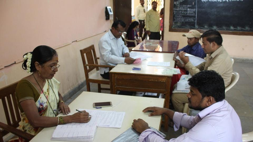 Out of the total 67,706 seats declared in the first lottery which was declared on April 8, only 44,110 admissions have been taken in the state.  Here, parents wait for verification of forms at a centre, ahead of getting admission under the RTE Act .