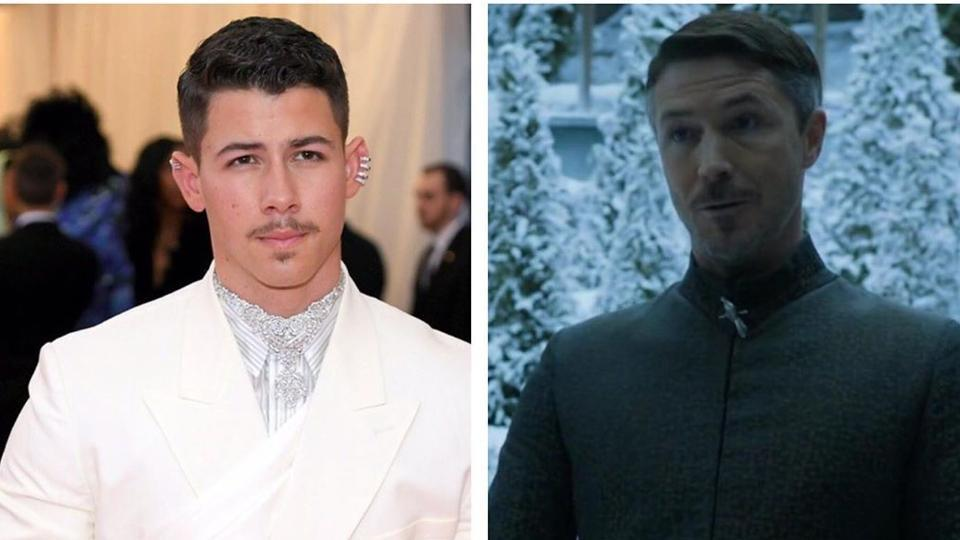 Nick Jonas thinks he looked like Littlefinger from Game of Thrones.