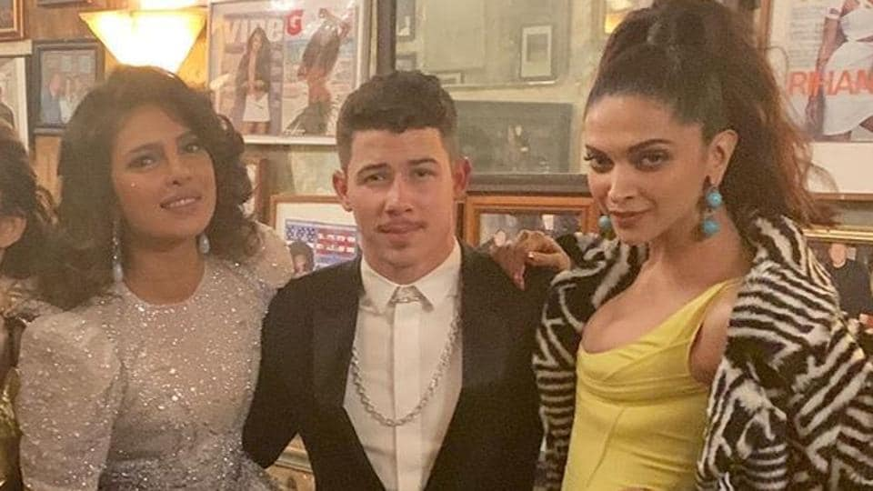 Priyanka Chopra, Nick Jonas and Deepika Padukone at the Met Gala after-party.