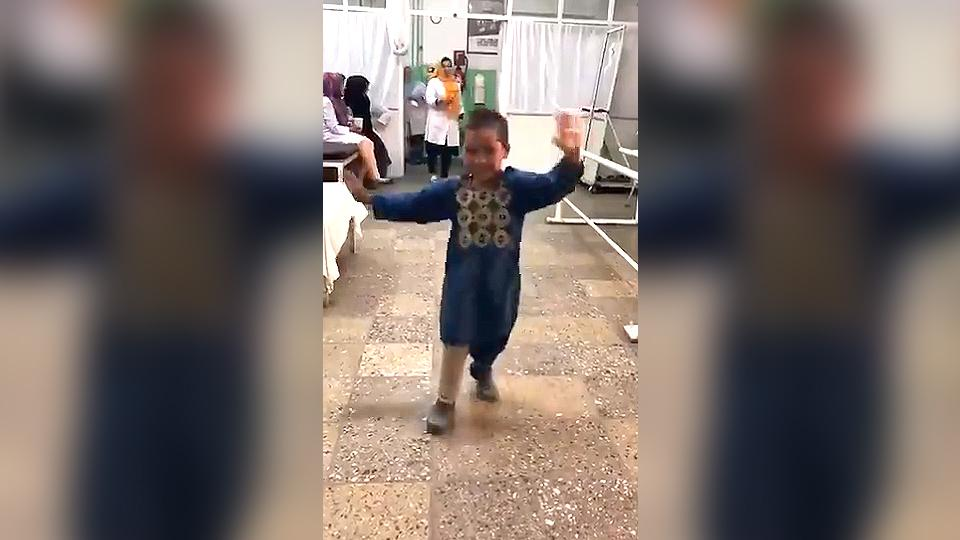 The viral video shows a boy, named Ahmed, dancing with happiness.