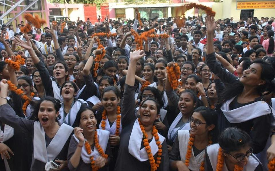 Overjoyed students of the Rani Laxmi Bai School in Lucknow after results of CBSEClass 10 exams were declared.