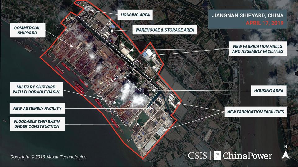 A satellite i mage shows what appears to be the construction of a third Chinese aircraft carrier at the Jiangnan Shipyard in Shanghai, China April 17, 2019. Image taken April 17, 2019.