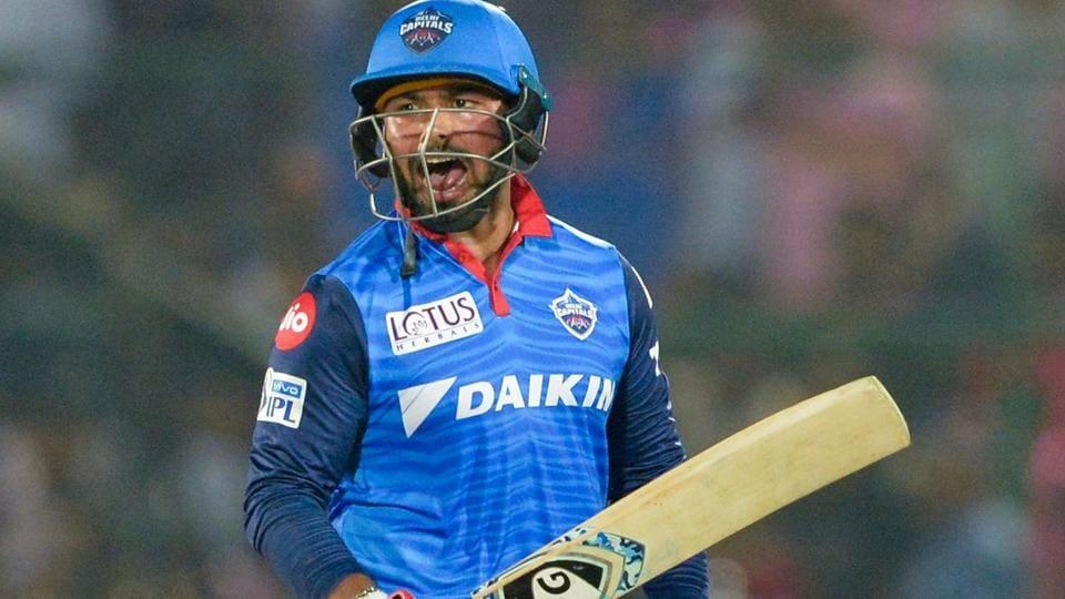 Delhi Capitals cricketer Rishabh Pant celebrates after hitting the winning runs.