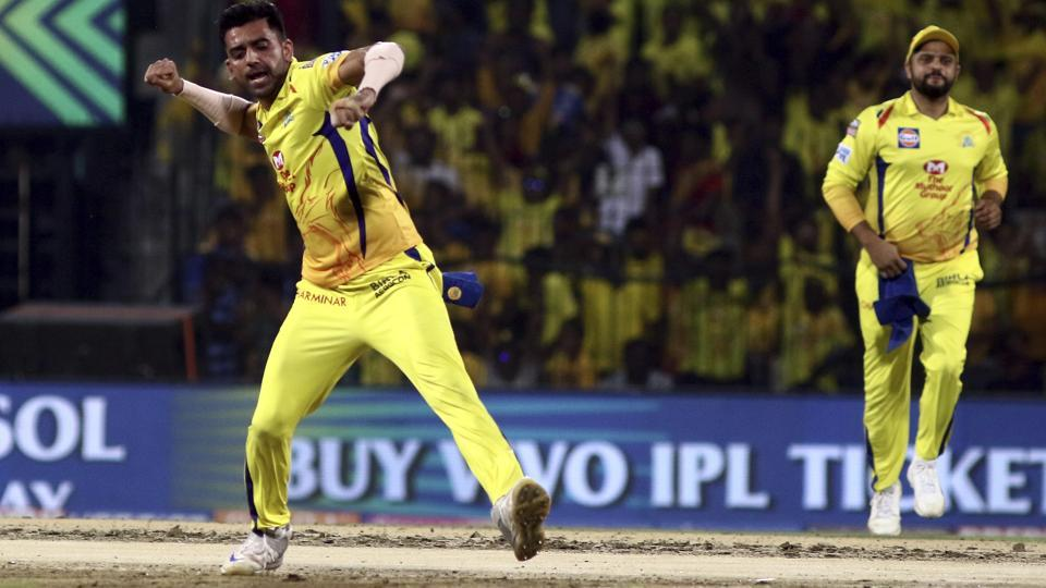Deepak Chahar of Chennai Super Kings celebrates after taking the wicket of Rohit Sharma of Mumbai Indians. (AP)