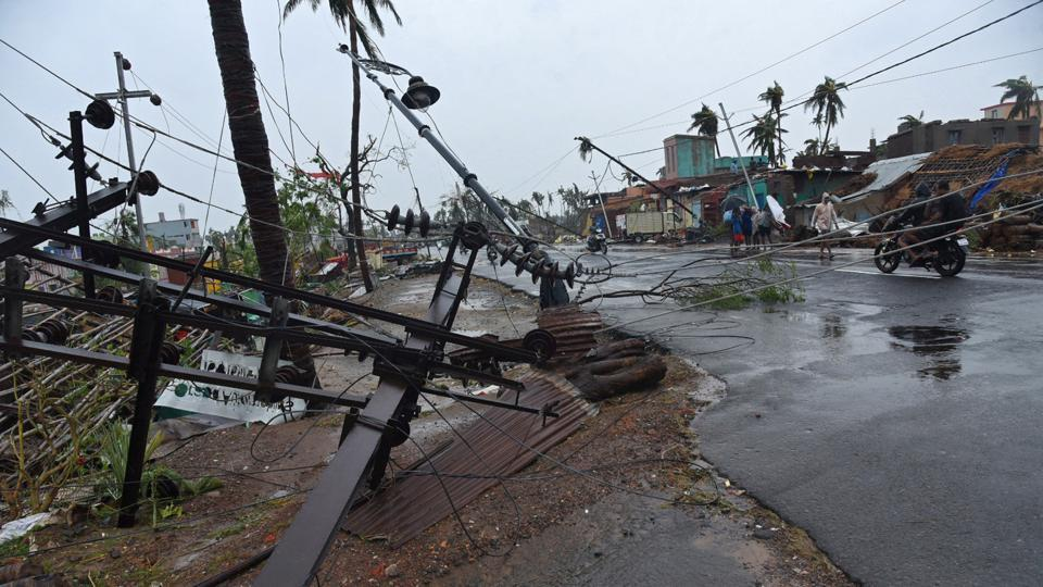 Fallen utility poles are pictured after Cyclone Fani hit Puri, Odisha, May 3