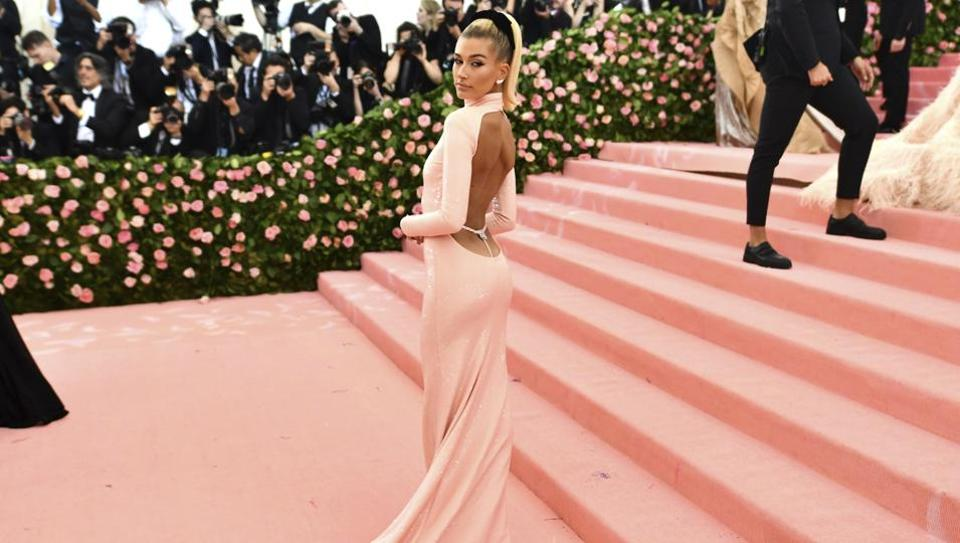 Hailey Bieber attends The Metropolitan Museum of Art's Costume Institute benefit gala celebrating the opening of the
