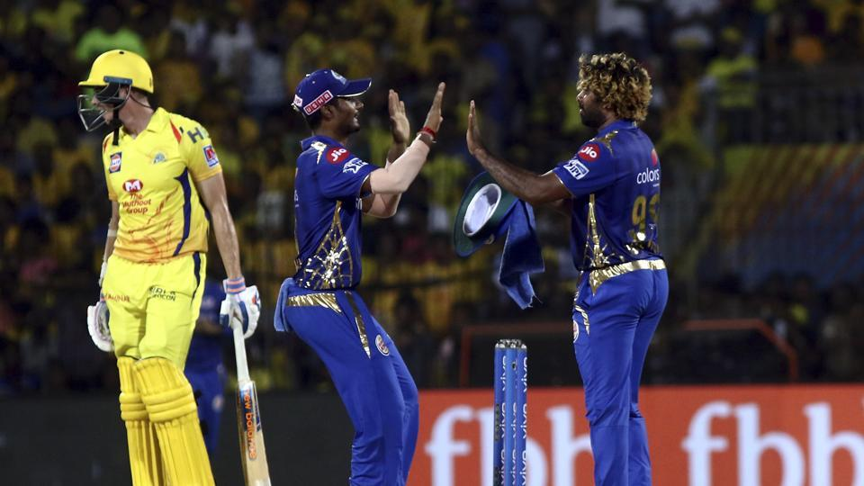 Lasith Malinga of Mumbai Indians celebrates after taking the wicket of Dwayne Bravo Chennai Super Kings during the VIVO IPL T20 cricket match between Chennai Super Kings and Mumbai Indians in Chennai, India, Friday, April 26, 2019