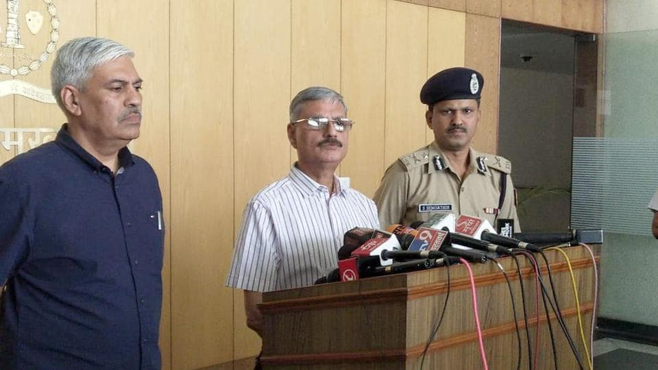 Rajasthan's Director General of Police Kapil Garg addresses a press conference at the police headquarters in Jaipur on Tuesday.