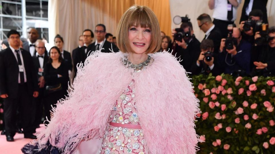 "Vogue Editor-in-Chief Anna Wintour arrives for the 2019 Met Gala at the Metropolitan Museum of Art on May 6, 2019, in New York. - The Gala raises money for the Metropolitan Museum of Art's Costume Institute. The Gala's 2019 theme is ""Camp: Notes on Fashion"