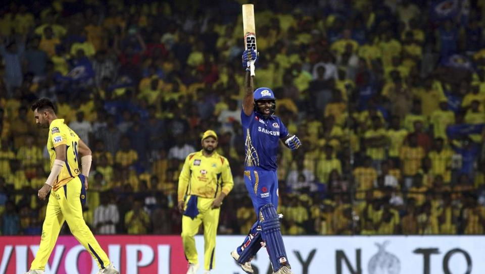 Suryakumar Yadav of Mumbai Indians celebrates as they defeat Chennai Super Kings to enter the final. (AP)