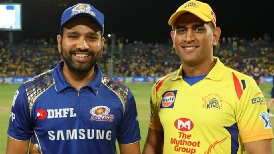 Rohit Sharma captain of Mumbai Indians and Mahendra Singh Dhoni captain of Chennai Super Kings at the toss during match twenty seven of the Vivo Indian Premier League 2018 (IPL 2018) between the Chennai Super Kings and the Mumbai Indians held at the Maharashtra Cricket Association Cricket Stadium, Pune on the 28th April 2018.