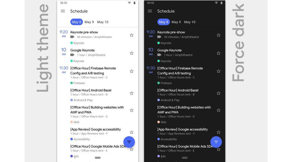 Light theme and dark theme on Android Q.