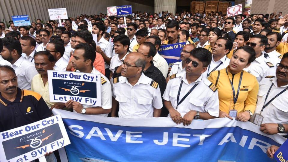 Jet Airways,Shiv Sena,Jet Airways staff protest