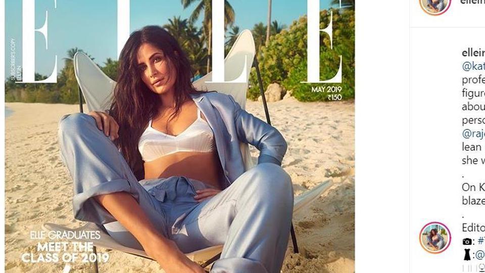 Katrina Kaif poses for Elle India at a beach.