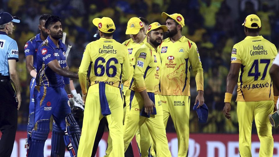 Mumbai Indians Surya Kumar Yadav shakes hands with Chennai Super kings players after winning the qualifier 1 to enter the Finals of the VIVO IPL T20 cricket match between Chennai Super Kings and Mumbai Indians in Chennai, India, Tuesday, May 7, 2019