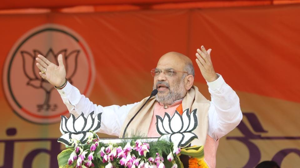 BJP National President Amit Shah at an election meeting in Dhanbad on Wednesday.