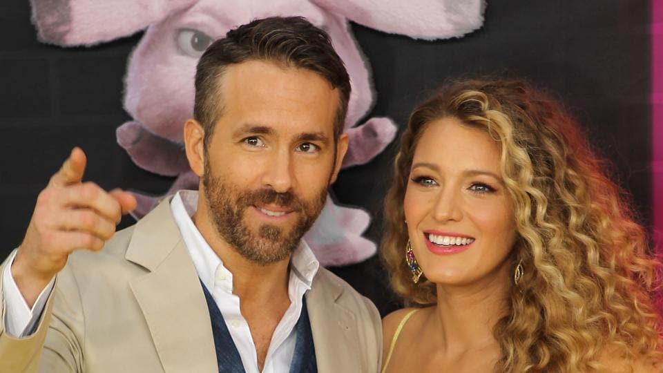 Actor Ryan Reynolds with his wife and actress Blake Lively at the premiere of his film Detective Pikachu.