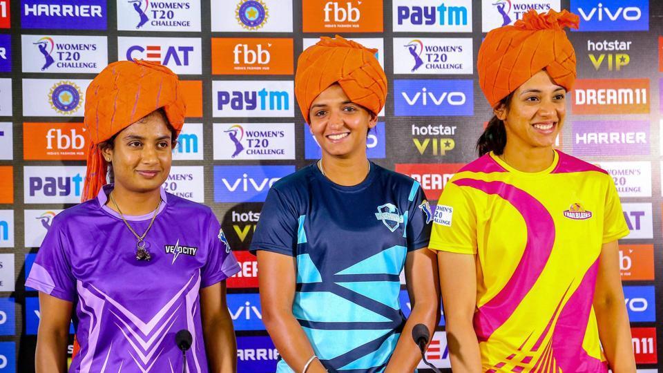 Jaipur: Velocity team captain Mithali Raj , Supernovas team captain Harmanpreet Kaur and Trailblazers team captain Smriti Mandhana address media personnel, ahead of the Women T20 Challenge matches, in Jaipur, Saturday, May 4, 2019