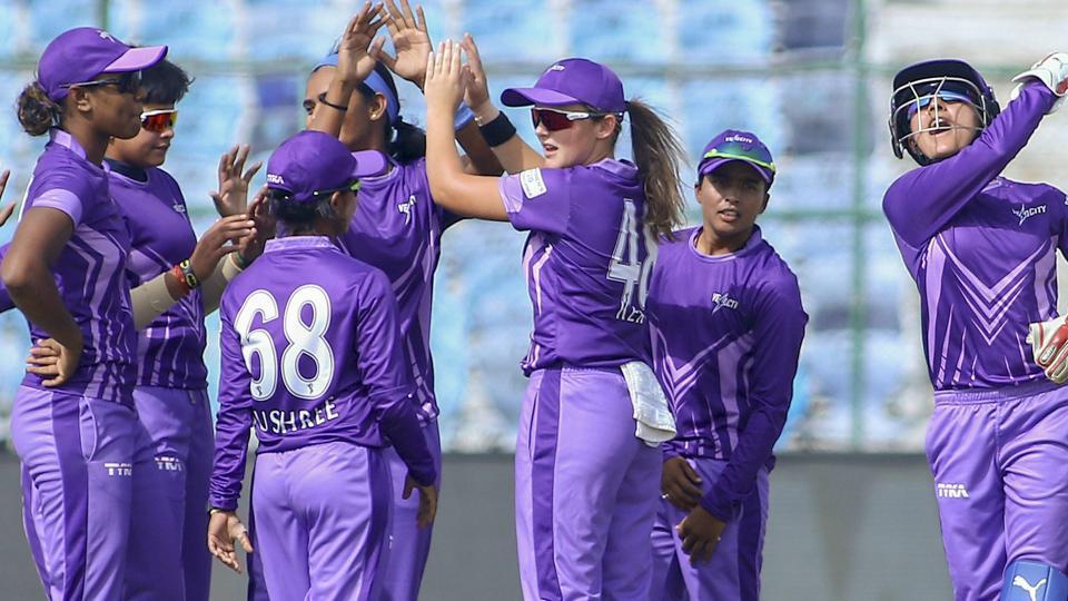 Velocity players celebrate the dismissal of a Trailblazers' batsman. (PTI)