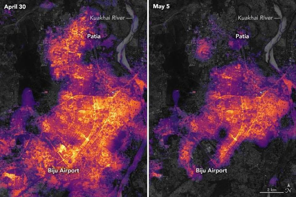 The images show city lighting on April 30 (before cyclone Fani) and on May 5, 2019, two days after Fani made landfall.
