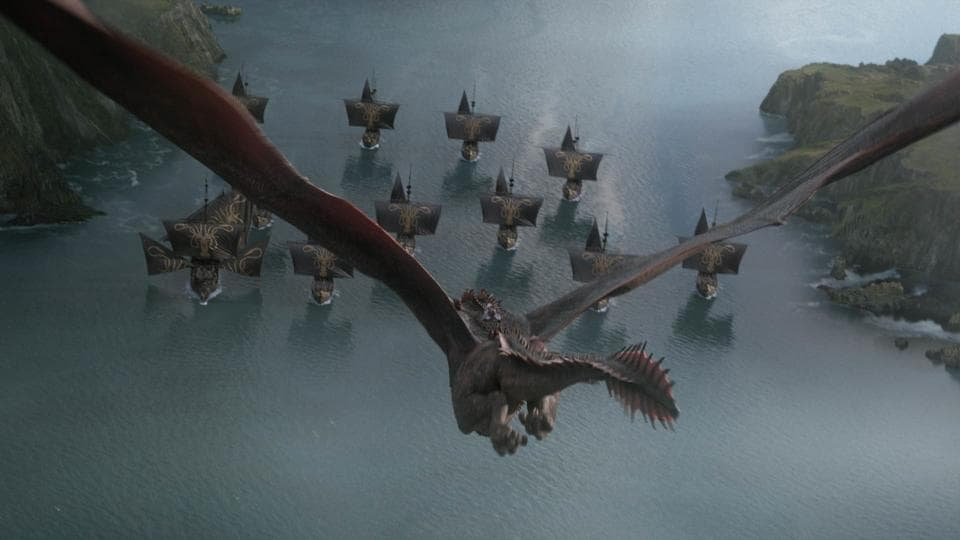 Daenerys Targaryen rides Drogon in a still from the fourth episode of Game of Thrones' final season.