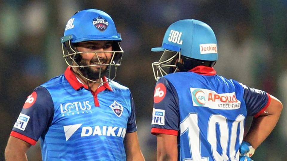 Delhi Capitals' cricketers Rishabh Pant (L) and Prithvi Shaw.