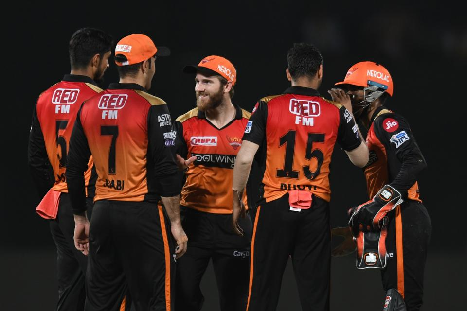 Sunrisers Hyderabad cricket captain Kane Williamson (C) celebrates with teammates for the wicket of Delhi Capitals batsman Shikhar Dhawan (unseen) during the 2019 Indian Premier League (IPL) eliminator between Sunrisers Hyderabad and Delhi Capitals at the Dr. Y.S. Rajasekhara Reddy ACA-VDCA Cricket Stadium in Visakhapatnam (AFP)