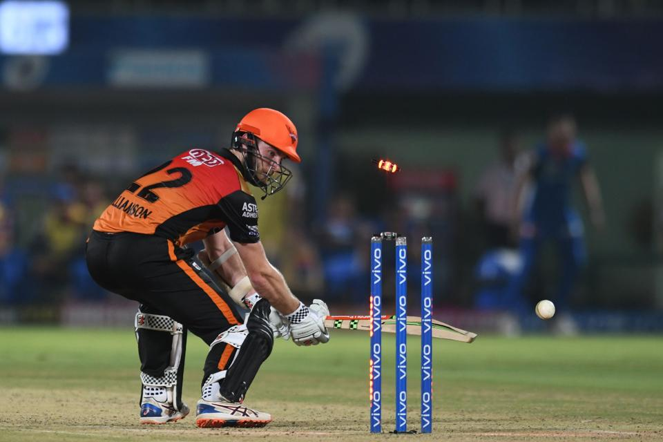Sunrisers Hyderabad cricket captain Kane Williamson is bowled out during the 2019 Indian Premier League (IPL) eliminator Twenty20 cricket match between Sunrisers Hyderabad and Delhi Capitals at the Dr. Y.S. Rajasekhara Reddy ACA-VDCA Cricket Stadium in Visakhapatnam. (AFP)