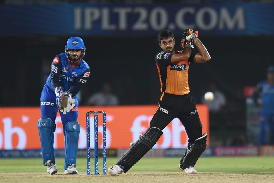 Sunrisers Hyderabad cricketer Vijay Shankar plays a shot during the 2019 Indian Premier League (IPL) eliminator Twenty20 cricket match between Sunrisers Hyderabad and Delhi Capitals at the Dr. Y.S. Rajasekhara Reddy ACA-VDCA Cricket Stadium in Visakhapatnam. (AFP)