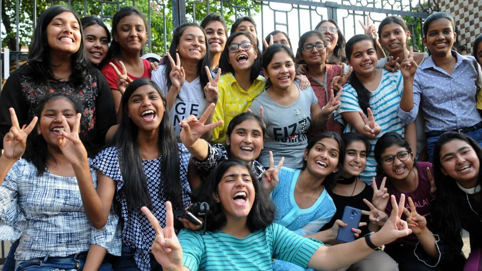 Successful students celebrates after the declaration of result by ICSE board before Loreto convent in Ranchi