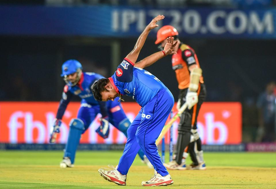 Visakhapatnam: Delhi Capitals bowler Amit Mishra reacts after dropping a catch of Sunrisers Hyderabad batsman Kane Williamson during their Indian Premier League 2019 (Eliminator stage) cricket match at ACA-VDCA Cricket Stadium in Visakhapatnam. (PTI)