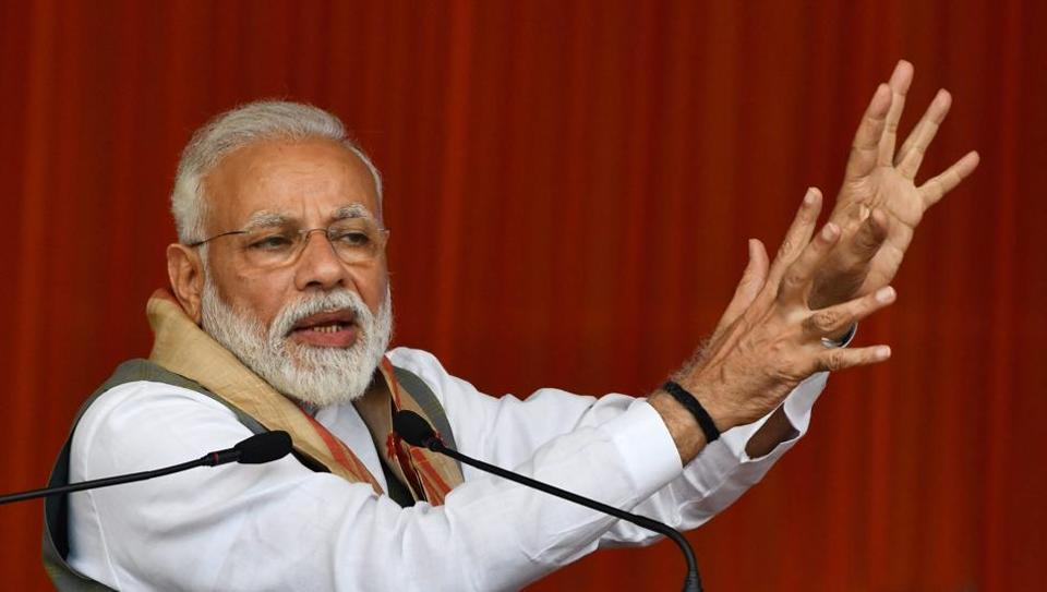 Prime Minister Narendra Modi addresses an election campaing rally in Tezpur on  March 30.