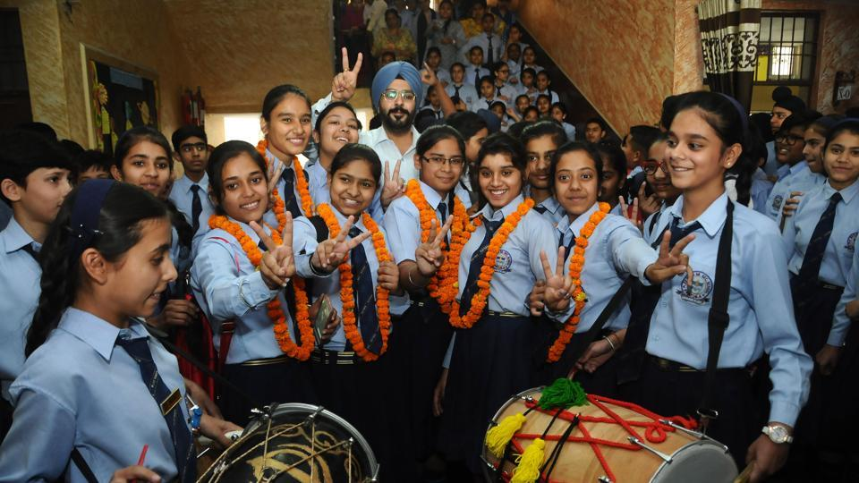 Students of Play ways Senior Secondary School toppers of class 10th PSEB in jubilant mood after the declaration of the result in Patiala on Wednesday